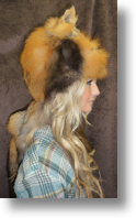 Fur Hat - Cross Fox Mountain Man with Face