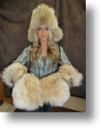 Fur Hat - Coyote Mitts with Sheared Beaver Inside