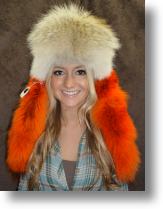 Fur Hat - Coyote Hat with Multi-colored Tails