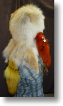 Fur Hat -- Coyote Hat with Multi-colored Tails