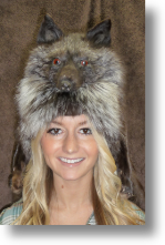 Fur Hat - Silver Fox Mountain Man with Taxidemy Face